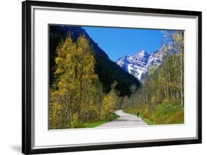 Cyclist on Road to Maroon Bells, Aspen, Colorado, United States of America, North America by Holger Leue