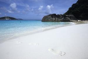 Footprints in Sand at Ko Similan Beach, Similan Islands National Marine Park, Thailand by Holger Leue