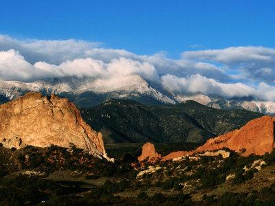 Garden of the Gods and Pikes Peak at Sunrise, Colorado Springs, Colorado