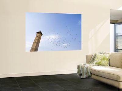 Low Angle View of Great Mosque Minaret and Flock of Birds
