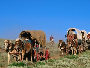 Mormons on Horse Carriages, Mormon Pioneer Wagon Train to Utah, Near South Pass, Wyoming by Holger Leue