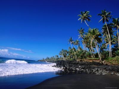 Nuu Black Sand Beach Near Taga