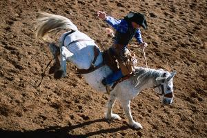 Overhead of Bronco Rider at Cloncurry Rodeo, Cloncurry, Queensland, Australia, Australasia by Holger Leue
