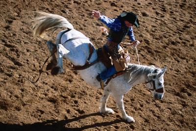 Overhead of Bronco Rider at Cloncurry Rodeo, Cloncurry, Queensland, Australia, Australasia