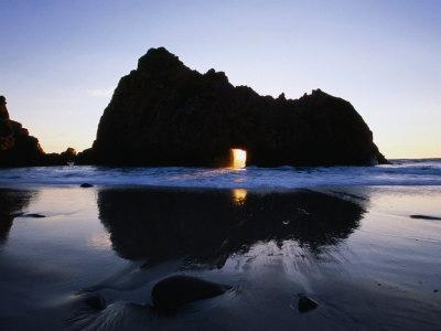 Pfeiffer Beach Rock Formation at Dusk, Pfeiffer Big Sur State Park, USA