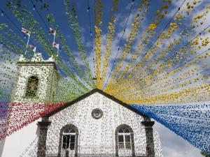 Ponta Delgada Church with Festival Decoration by Holger Leue