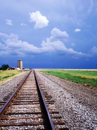 Railroad Tracks and Approaching Thunderstorm, Amarillo, Texas