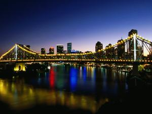 Story Bridge and City Skyline at Night, Brisbane, Queensland, Australia by Holger Leue