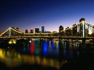 Story Bridge and City Skyline at Night, Brisbane, Queensland, Australia by Holger Leue