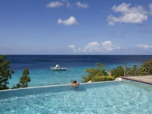 Swimmer in Infinity Pool at Habitat Curacao Dive Resort Near St. Willibrordus by Holger Leue