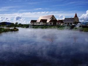 Thermal Steam and St. Faith's Anglican Church, Ohinemutu Near Rotorua by Holger Leue