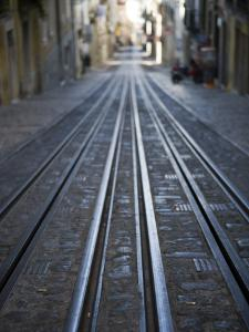 Tracks of Elevador Da Bica Funicular Railway by Holger Leue