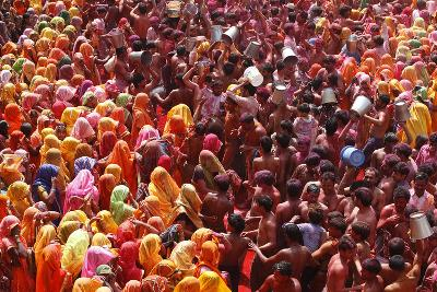 Holi Celebration in Dauji Temple, Dauji, Uttar Pradesh, India, Asia-Godong-Photographic Print