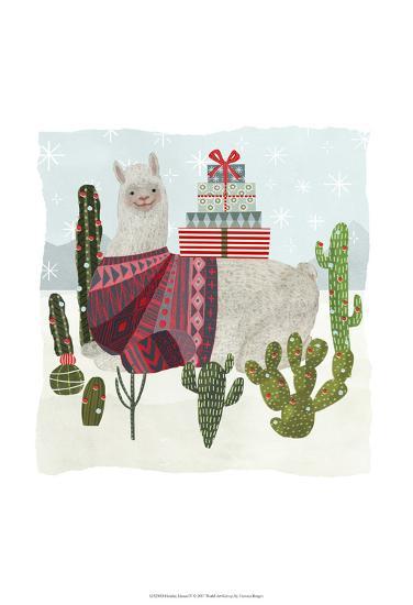 Holiday Llama IV-Victoria Borges-Art Print