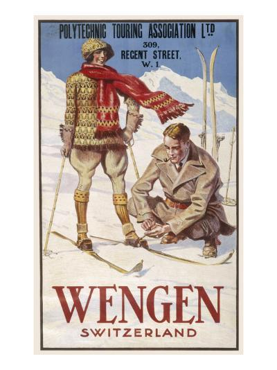 Holiday Poster for Wengen in Switzerland Showing a Couple Skiing--Giclee Print