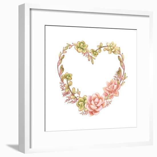 Holiday Wreath of Watercolor Succulents in the Form of Heart, Vector Illustration in Vintage Style.-Nikiparonak-Framed Premium Giclee Print