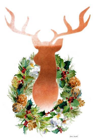 Holiday Wreath With Deer-Lanie Loreth-Art Print