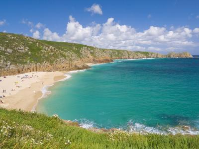 Holidaymakers and Tourists Sunbathing on Porthcurno Beach, Cornwall, England, United Kingdom-Neale Clark-Photographic Print