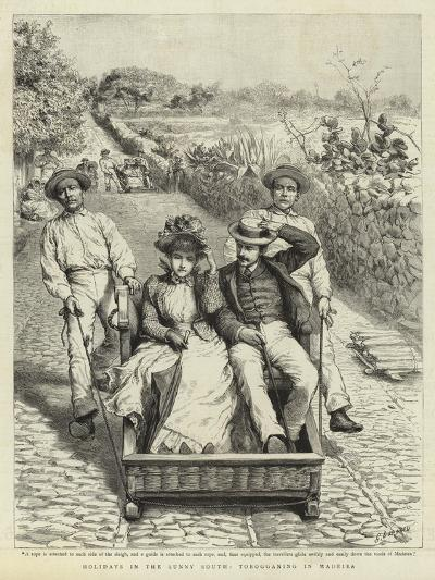 Holidays in the Sunny South, Tobogganing in Madeira-Godefroy Durand-Giclee Print