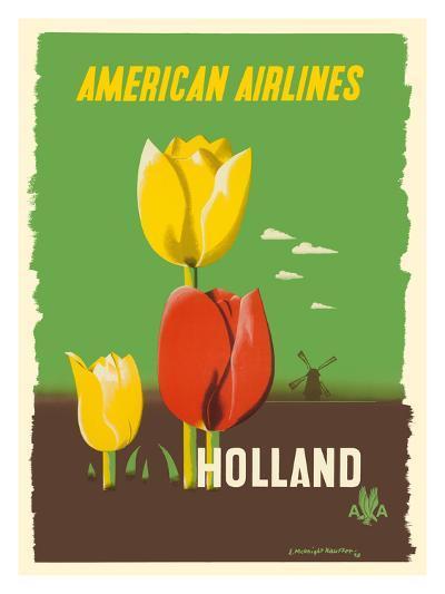 Holland - American Airlines - Tulips-Edward McKnight Kauffer-Premium Giclee Print