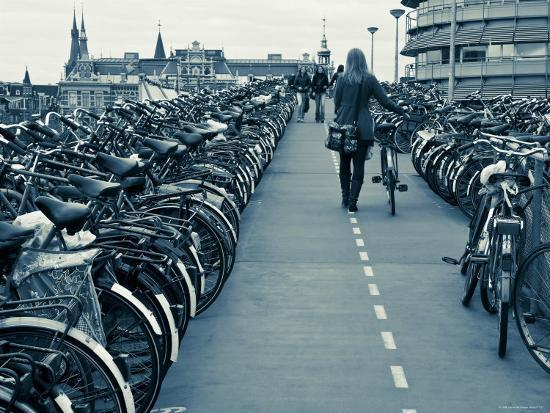 Holland, Amsterdam, Bicycle Park Outside the Main Train Station-Gavin Hellier-Photographic Print