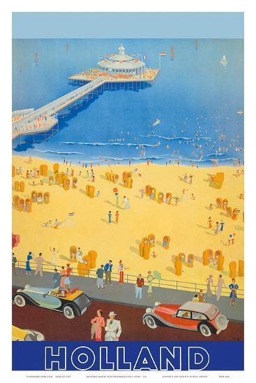 Holland Beach, Scheveningen Pier c.1950s--Art Print