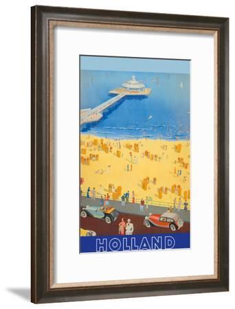 Holland Beach, Scheveningen Pier c.1950s--Framed Art Print