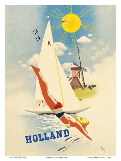 Holland - Dutch Windmill-Jan Wijga-Art Print