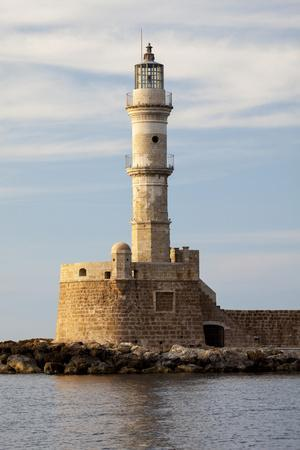 Greece, Crete, Chania. Venetian Lighthouse at the Old Harbor