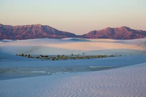 New Mexico. White Sands National Monument landscape of sand dunes and mountains by Hollice Looney