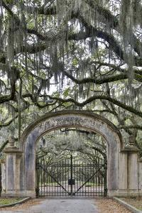 USA, Georgia, Savannah. Plantation gate at entrance by Hollice Looney