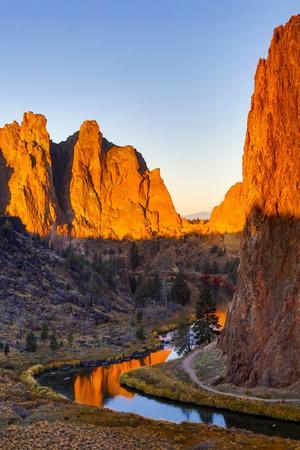 USA, Oregon, Bend. Smith Rock State Park, rock and reflections