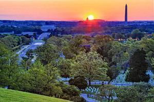 USA, Virginia, Arlington, Arlington National Cemetery at Sunrise by Hollice Looney