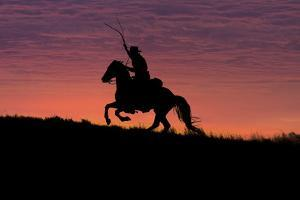 USA, Wyoming, Shell, The Hideout Ranch, Silhouette of Cowboy and Horse at Sunset by Hollice Looney