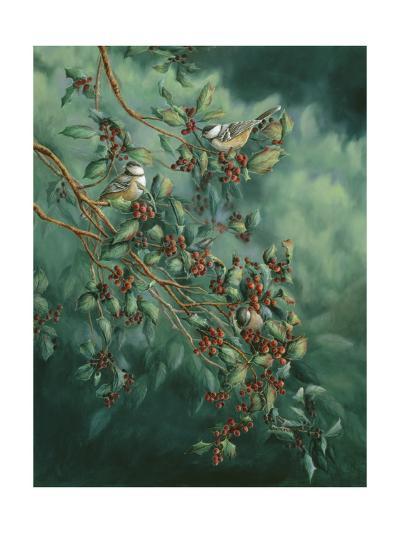 Holly and Chickadees-Wanda Mumm-Giclee Print