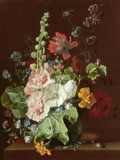 Hollyhocks and Other Flowers in a Vase, 1702-20-Jan van Huysum-Giclee Print