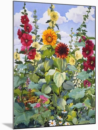 Hollyhocks and Sunflowers, 2005-Christopher Ryland-Mounted Premium Giclee Print