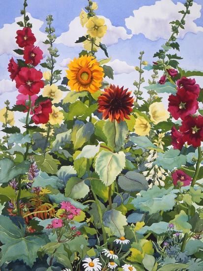 Hollyhocks and Sunflowers, 2005-Christopher Ryland-Giclee Print