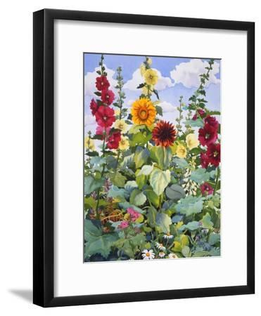Hollyhocks and Sunflowers, 2005-Christopher Ryland-Framed Giclee Print