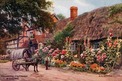 Hollyhocks, Cropthorne, Evesham-Alfred Robert Quinton-Giclee Print