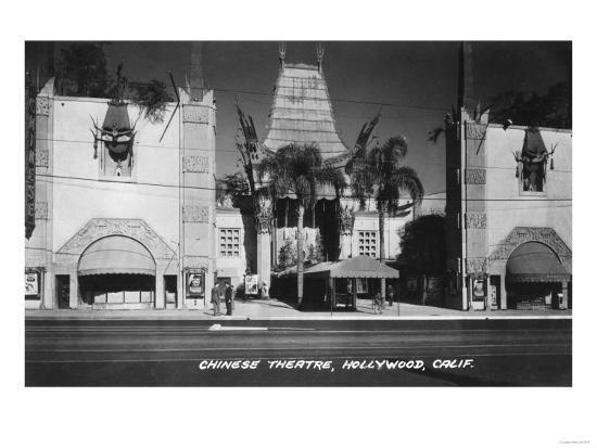 Hollywood, California Chinese Theatre View Photograph - Hollywood, CA-Lantern Press-Art Print