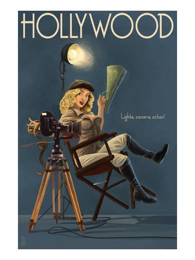 Hollywood, California - Directing Pinup Girl-Lantern Press-Art Print