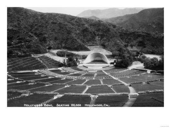 Hollywood, California Hollywood Bowl View Photograph - Hollywood, CA-Lantern Press-Art Print