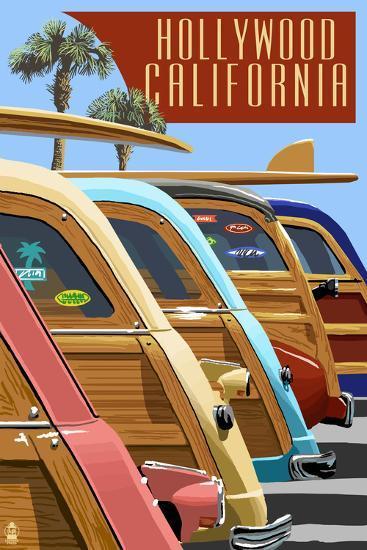 Hollywood, California - Woodies Lined Up-Lantern Press-Art Print