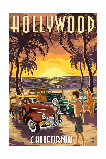 Hollywood, California - Woodies on the Beach-Lantern Press-Art Print