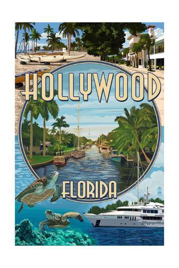 Hollywood, Florida - Montage-Lantern Press-Art Print
