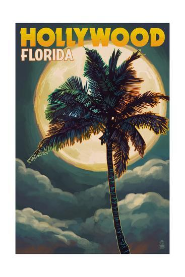 Hollywood, Florida - Palms and Moon-Lantern Press-Art Print