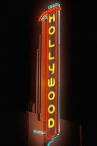 """""""Hollywood"""" neon sign at the Hollywood Theater in Los Angeles, California"""