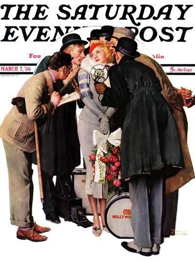 """Hollywood Starlet"" Saturday Evening Post Cover, March 7,1936-Norman Rockwell-Giclee Print"
