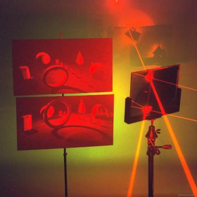 Hologram made by Juris Upatnieks projects on screens when lasers passes through different places-Fritz Goro-Photographic Print